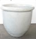 White Rolled Rim Pot