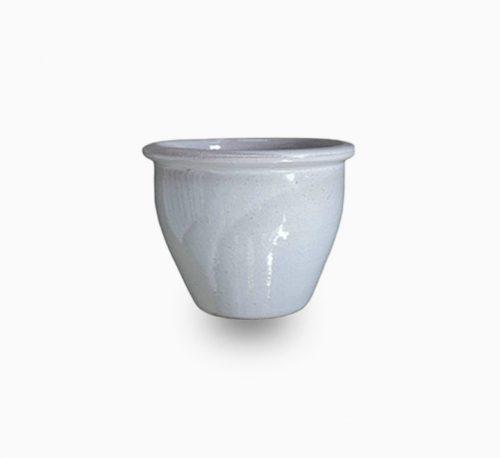 White Rolled Rim Pot 58