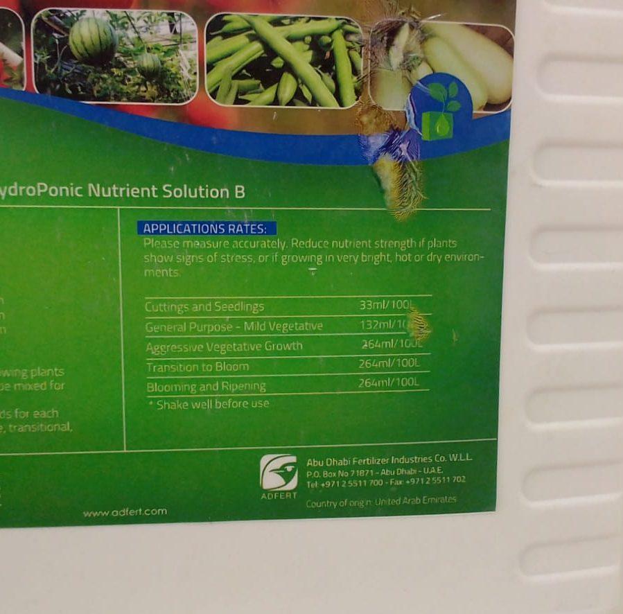 Hydroponic Nutrient Solution B 1 60 3 5 5 2mg0 10l Buy Online In Uae Green Souq Uae