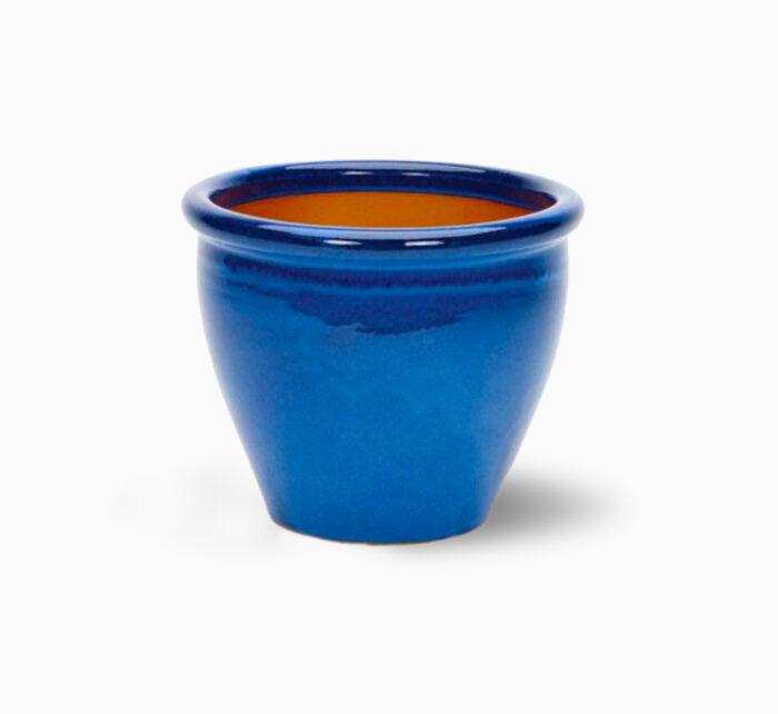 Blue Rolled Rim Pot