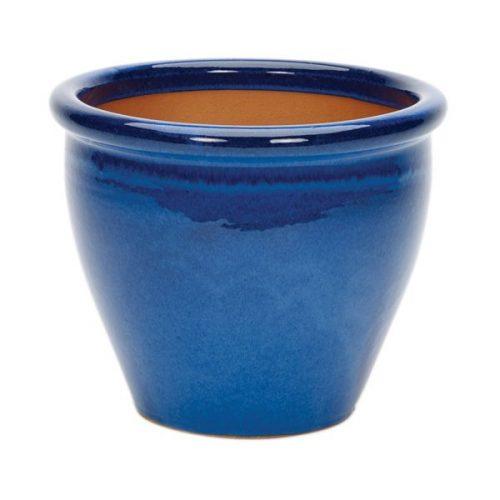 blue rolled rim glazed