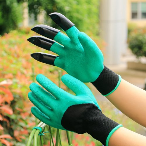 1 Pair Garden Gloves with Fingertips Claws, Safe Gardening Tool, Gift for Gardeners, Perfect for Digging Weeding Seeding Poking Planting