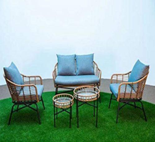 4 Seater Rattan Garden Sofa Set with 2 table