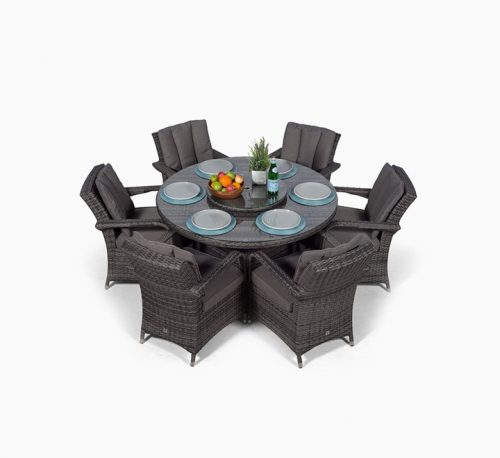 6 Seater Rattan Round Dining Table & Chair Set