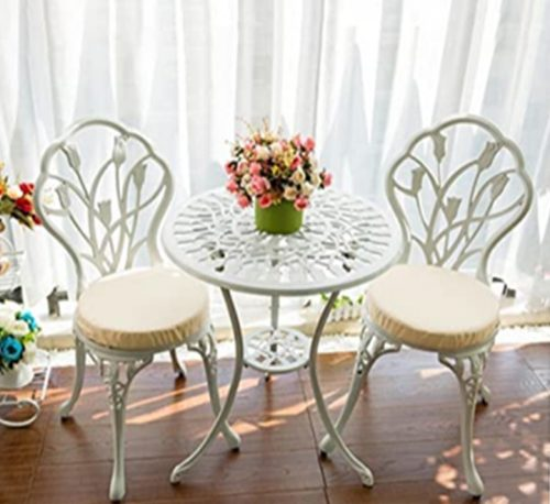 White Aluminium Chairs and Table Set