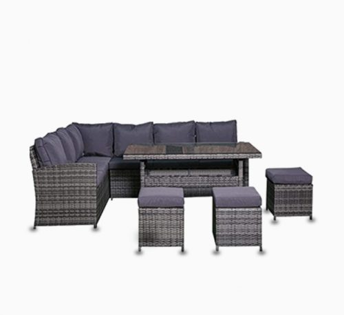 Rattan 6 Seater Sofa Set with Glass Table