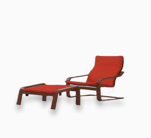 Yulan Poang Armchair with ottoman and Footstool Set